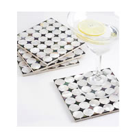 Amalgam Hand-carved Circling the Square Motif Stone Square Coasters - set of 4
