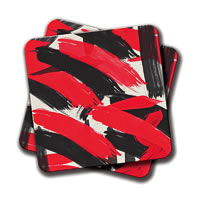 Amey Abstract Black Red Brush Strokes Pattern Coasters - set of 2