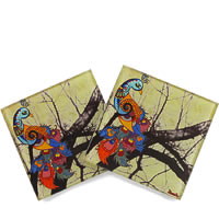 Kolorobia Beautiful Peacock Wooden Coasters - set of 4