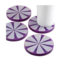 Amalgam Hand-carved Scratched and Scraped Petal Stone Coasters (Purple) - ...