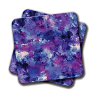 Amey Modern Blue Purple Watercolor Coasters - set of 2