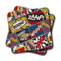Amey Modern Comic Book Superhero Pattern Coasters - set of 2