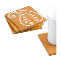 Amalgam Hand-carved Pretty Paisley Motif Stone Square Coasters (Red) - set ...