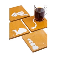 Amalgam Hand-carved Royal Rajasthan Collection Motif Stone Square Coasters ...