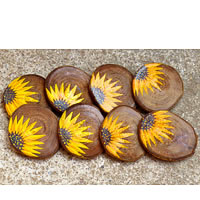ScrapShala Hand-Painted Sunflower Wooden Coasters - set of 6