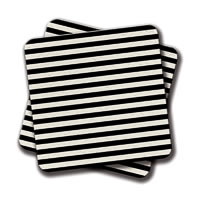 Amey Modern Black White Stripes Coasters - set of 2
