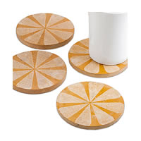 Amalgam Hand-carved Scratched and Scraped Petal Stone Coasters (Yellow) - ...