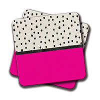 Amey Handdrawn Neon Pink Black Watercolor Polka Dots Coasters - set of 2