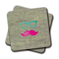 Amey Funny Girly Talk to the Mustache Bright Pink Heart Coasters - set of 2