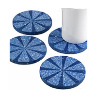 Amalgam Hand-carved Scratched and Scraped Petal Stone Coasters (Blue) - ...