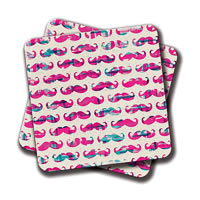 Amey Funny Pink Mustache Teal Hipster Glasses Wood Coasters - set of 2