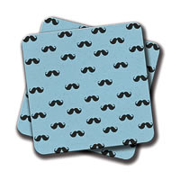 Amey Blue Moustache Coasters - set of 2