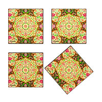 Kolorobia Mesmerizing Mughal Wooden Coasters - set of 4