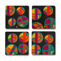 MadCap Vibrance Cork Coasters - set of 4