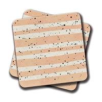 Amey Modern Coral Stripes Black Splatters Coasters - set of 2