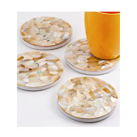 Amalgam Hand-carved Playful Petal Motif Stone Square Coasters - set of 4
