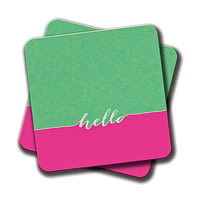 Amey Neon Pink Turquoise Floral Damask Hello Quotes Coasters - set of 2