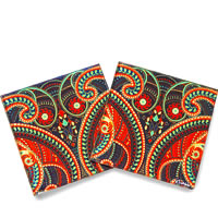 Kolorobia Illuminating Paisley Glass Coasters - set of 4