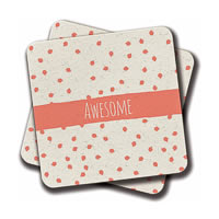 Amey Modern Coral Awesome Stripe Coasters - set of 2