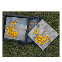 Amalgam The Dandy Peacock Coasters (Yellow) - set of 4