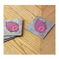 Amalgam The Flowering Feather Coasters (Pink) - set of 4