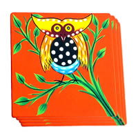 ScrapShala Hand-Painted Owl on Tree Glass Coasters - set of 4