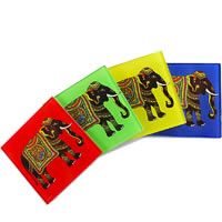 Kolorobia Silhouette of Elephant Wooden Coasters - set of 4