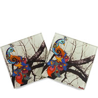 Kolorobia Unique Peacock Glass Coasters - set of 4