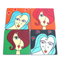 ScrapShala Hand-Painted Womaniya Theme Glass Coasters - set of 4