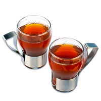 Arttdinox Coffee Mugs Glass and Stainless Steel - set of 2