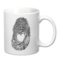 Prithish Heart In Fingerprint White Mug