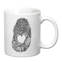 Prithish Heart In Fingerprint White Mug
