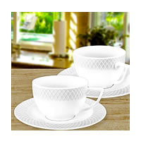 Wilmax ENGLAND Fine Porcelain Julia Tea Cup, 240 ml and Saucer (White) - ...