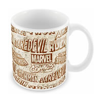 Marvel Comics All Logos Black Ceramic Mug