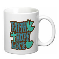 Prithish Faith Hope Love With Cross White Mug