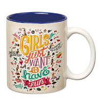 Prithish Girls Just Want to Have Fun Dark Blue Double Color Mug