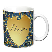 Prithish Blue And Gold Heart, I Love You White Mug
