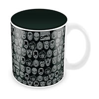 Marvel Comics All Faces Black Ceramic Mug