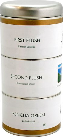 Gopaldhara Premium First, Second Flush and Sencha Green Tea Caddy