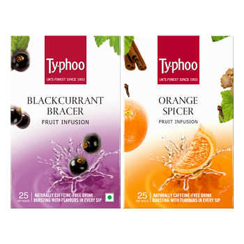 Typhoo Blackcurrant Bracer & Orange Spicer Fruit Infusions pack (25 tea bags each)