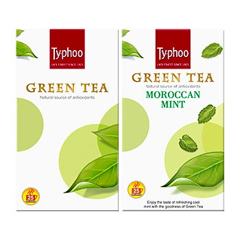 Typhoo Green Tea Plain and Green Tea Moroccan Mint pack (25 tea bags each)