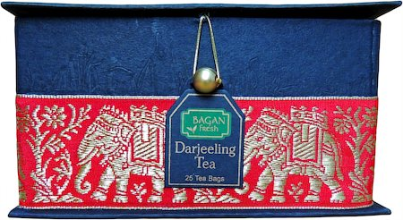 Bagan Darjeeling Tea Gift Box - Black Paper, Red Elephant Zari Lace (25 tea bags)