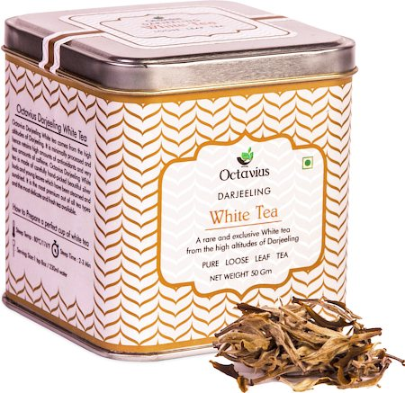 Octavius Darjeeling Silver Needle White Tea, Loose Whole Leaf 50 gm Premium Caddy
