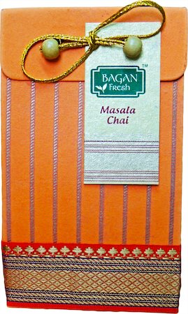 Bagan Masala Chai Gift Pack - Orange Paper with Zari Lace, 100 gm