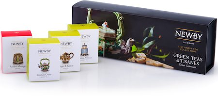 Newby Green Teas & Tisanes Taster Selection - Loose Leaf Teas Gift Box (4 mini cartons)