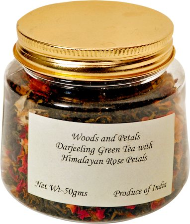 Woods and Petals Darjeeling Green Tea with Himalayan Rose Petals, Loose Leaf 50 gm