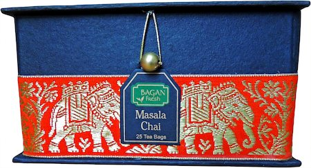 Bagan Masala Chai Tea Gift Box - Black Paper, Orange Elephant Zari Lace (25 tea bags)