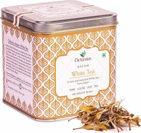Octavius Assam Silver Needle White Tea, Loose Whole Leaf 50 gm Premium Caddy