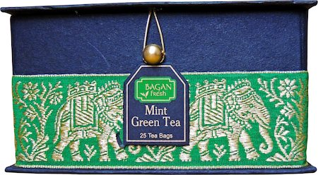 Bagan Mint Green Tea Gift Box - Black Paper, Green Elephant Zari Lace (25 tea bags)