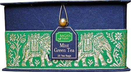 Bagan Mint Green Tea Gift Box - Black Paper, Green Elephant Zari Lace (25 tea bags)